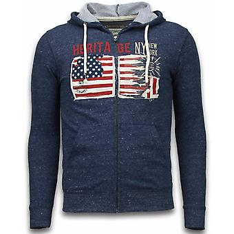 Casual Cardigan-Embroidery American Heritage-Blue