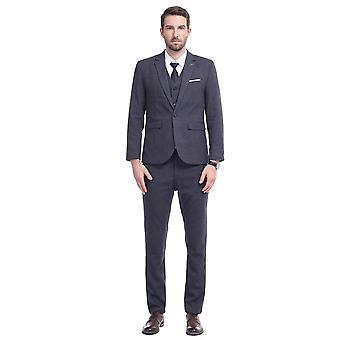 Allthemen mens 3 stuks casual slim fit effen pak blazer & vest & broek
