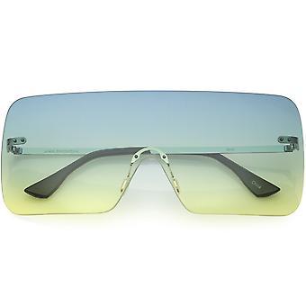 Large Futuristic Modern Mono Block Rimless Flat Top Shield Sunglasses 75mm