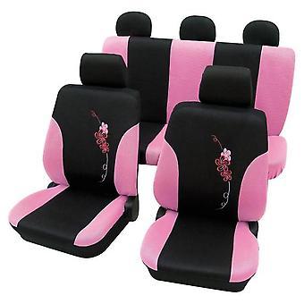 Girly sædebetræk Pink & sort blomst mønster for Ford Fiesta 2009-2018