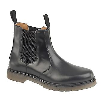 Mens Leather Chelsea Boots Air Cushion Sole Twin Gusset Slip On Shoes