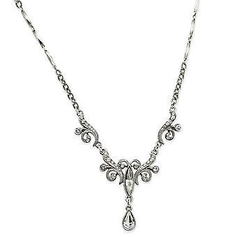 Silber-Ton Phantasie Hummer Schließung Kristalle Teardrop 15 Zoll Halskette