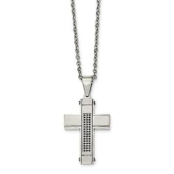 Stainless Steel Brushed and Polished With Black Cubic Zirconia Cross Necklace - 24 Inch