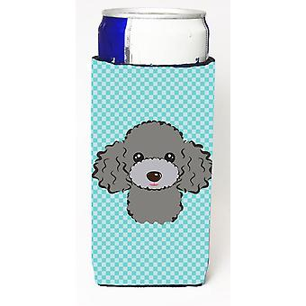 Checkerboard Blue Silver Gray Poodle Ultra Beverage Insulators for slim cans
