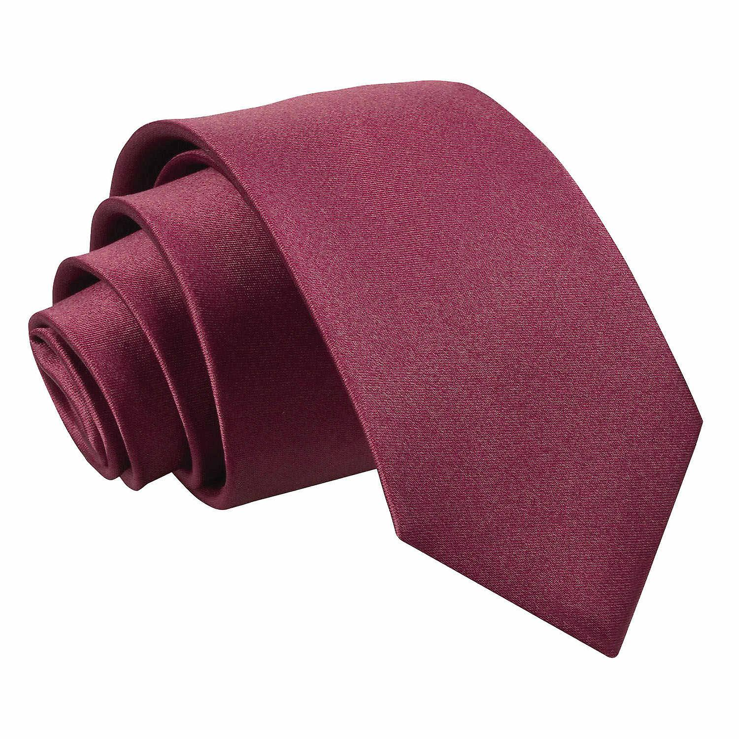 Burgundy Plain Satin Slim Tie