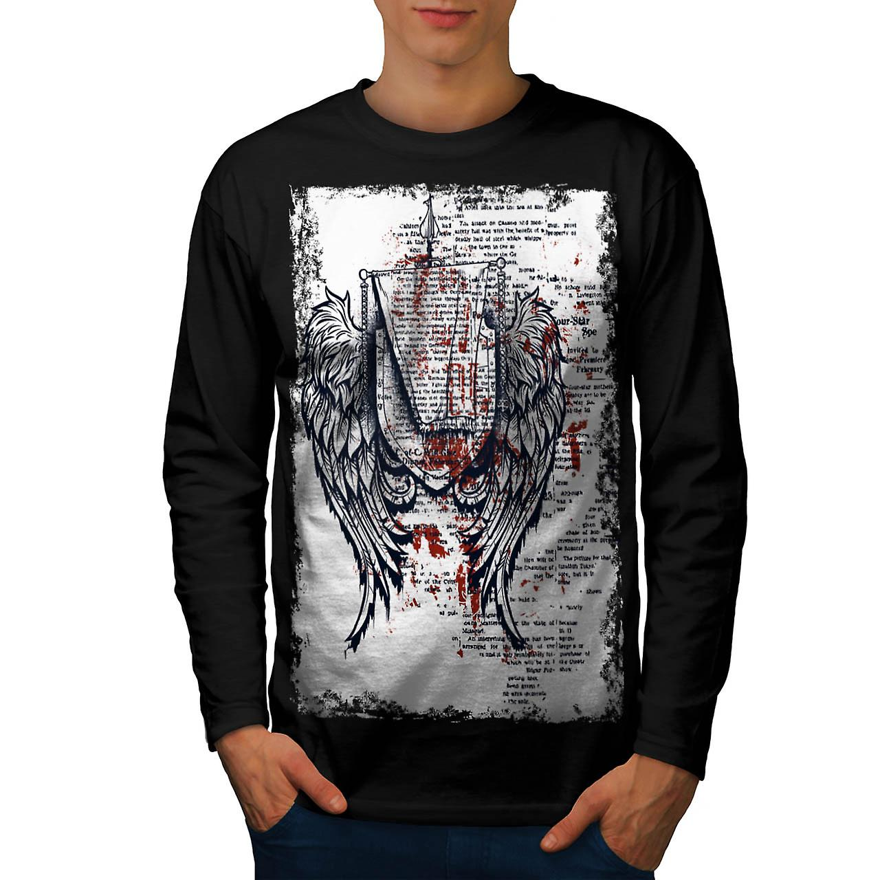Medieval Angel Wings Old Style Men Black Long Sleeve T-shirt | Wellcoda