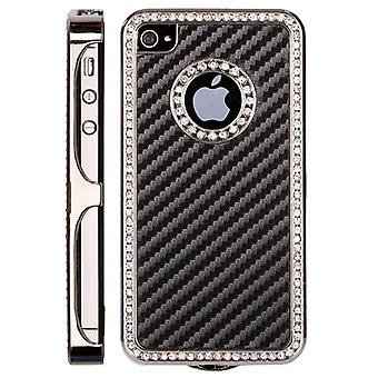 Cover in plastic with bright and carbon fiber-iPhone 4/4S (black)