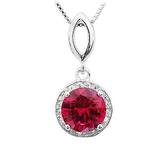 925 Sterling Silver 2.4 Carat Created Ruby Pendant