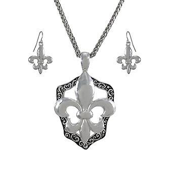 Ожерелье Silvertone Флер де Лис и мотаться серьги набор
