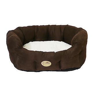 40 Winks Oval Sleeper Faux Suede Choc & Cream 50cm (20