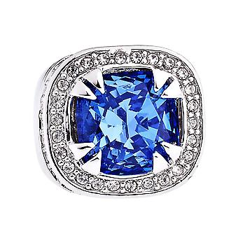 Iced out bling hip hop LUXURY GLASS ring - silver / royal
