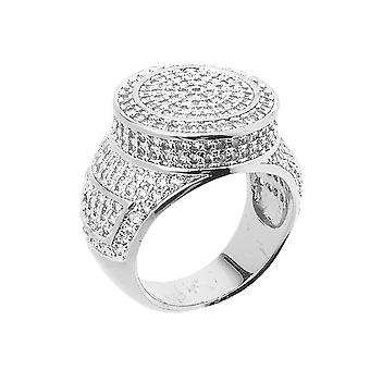 Iced out bling micro pave ring - ROUND TOP silver
