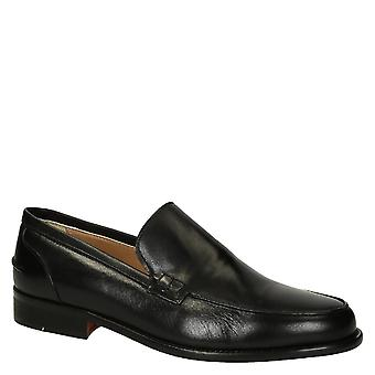 Black calf leather men's loafers shoes