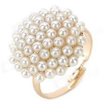 Boolavard® TM Vintage guld-fyllda svamp formade pärla Ring - vit