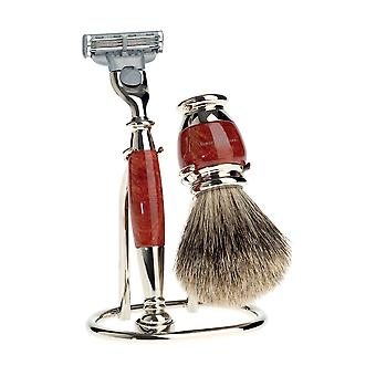 Edwin Jagger 3 Piece, Briar Wood, Mach 3 Razor, Nickel plated Shaving Set S281M213