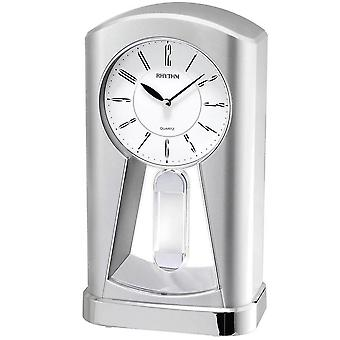 Table clock Quartz Watch Silver rhythm with swing pendulum desk clock 23 x 13 cm