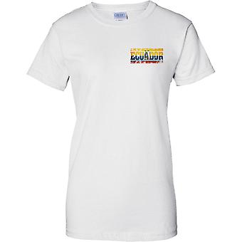 Equador Grunge Country Name Flag Effect - Ladies Chest Design T-Shirt