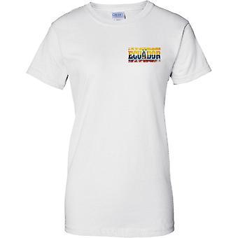 Equador Grunge Land Name Flag Effect - Damen Brust Design T-Shirt