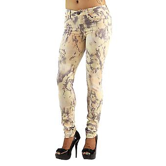 Women's Colored Stretch Yellow Print High Fashion Jeans