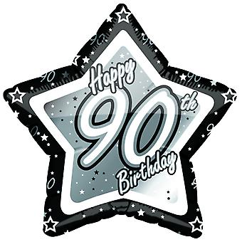 Creative Party Happy 90th Birthday Black/Silver Star Balloon