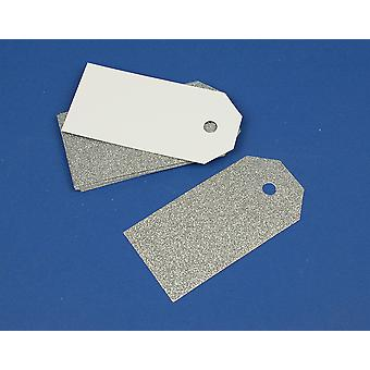 15 Silver Luxury Glitter 10cm Tags for Crafts & Gift Wrapping