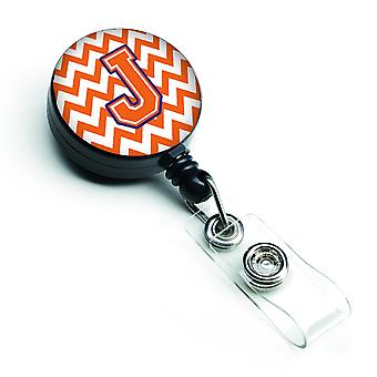 Letter J Chevron Orange and Regalia Retractable Badge Reel