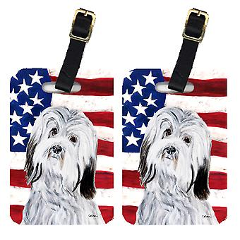 Pair of Havanese with American Flag USA Luggage Tags