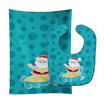 Beach Santa Claus Surfer #2 Baby Bib & Burp Cloth