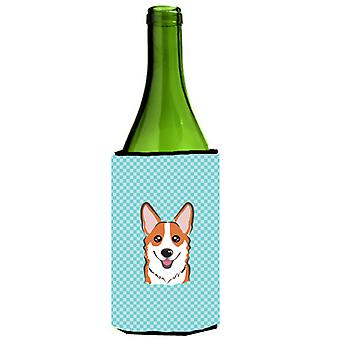Dambord blauwe Corgi wijnfles drank isolator Hugger