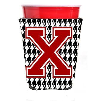 Monogram - Houndstooth początkowego X czerwony samotnie kubek napój izolator Hugger