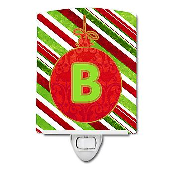 Christmas Oranment Holiday Initial Letter B  Ceramic Night Light