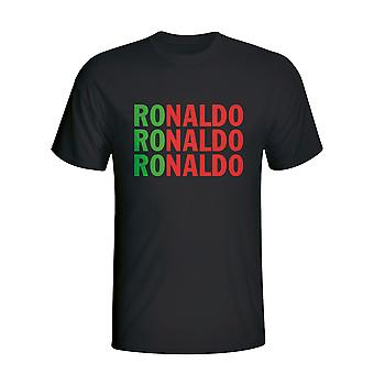 Cristiano Ronaldo Portugal Player Flag T-shirt (black) - Kids