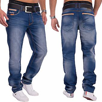 Men's Denim Jeans dark blue stone washed relaxed fit button placket