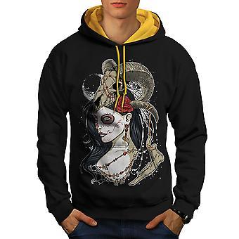 Animal Rose Skull Men Black (Gold Hood)Contrast Hoodie | Wellcoda