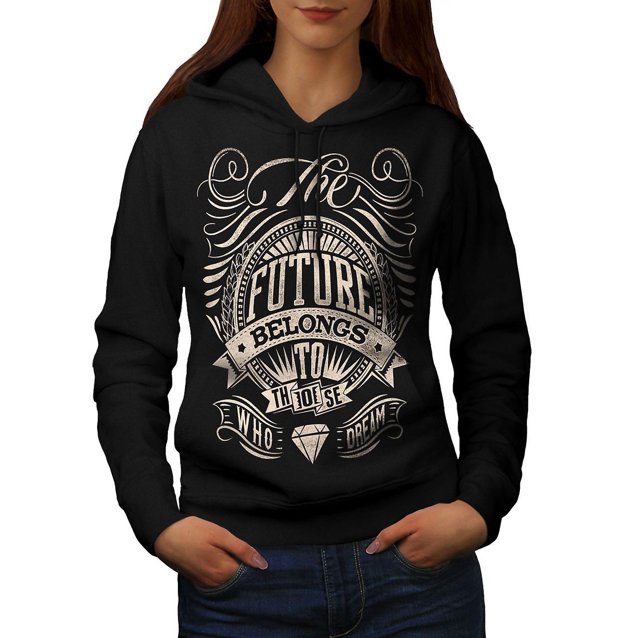 Future Belongs Slogan Women Black Hoodie | Wellcoda