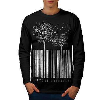 Nature Friendly Code Men BlackLong Sleeve T-shirt | Wellcoda