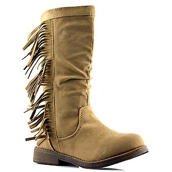 Infant Girls Kids New Faux Suede Riding Zip Mid Calf Boots Shoes