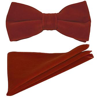 Luxury Amber Brown Velvet Bow Tie & Pocket Square Set