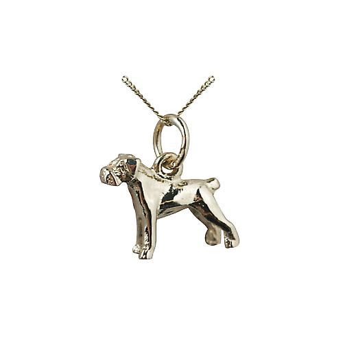 9ct Gold 11x14mm Boxer Dog Pendant with a curb Chain 16 inches Only Suitable for Children