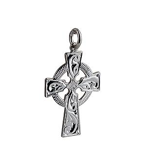 Silver 28x20mm hand engraved Celtic Cross