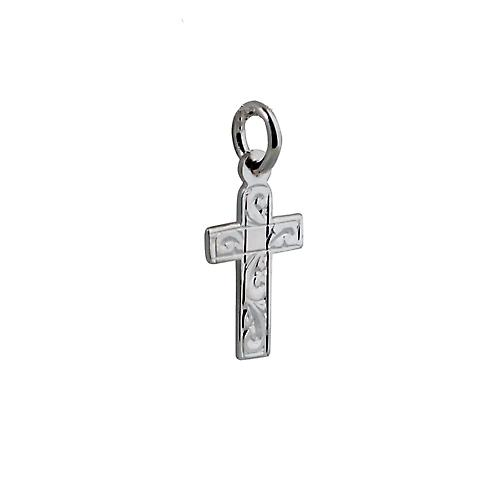 Silver 15x11mm hand engraved flat latin Cross