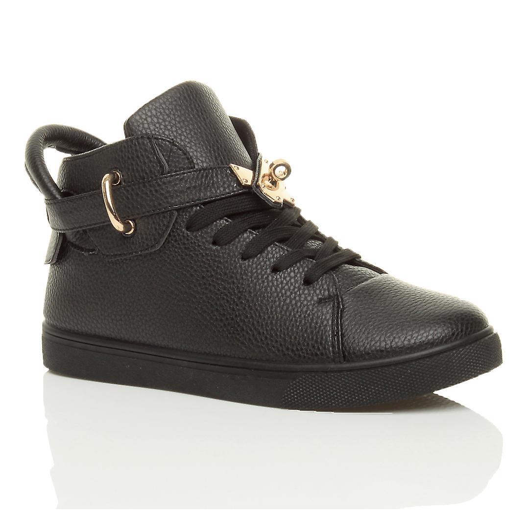 Ajvani Womens flache Schnürschuh gold Gurtband Hallo hohen oberen Sprunggelenk Trainer Stiefel Pumps Schuhe Sneaker
