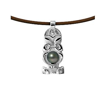 Man Totem Tribal leather necklace, Pearl of Tahiti and Silver 925