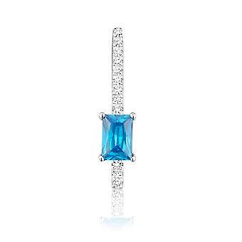 Hanger in zilver 925 en 13 kristallen Swarovski Zirconia wit en blauw