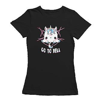 Kawaii Go To Hell Unicorn Funny Graphic Women's T-shirt