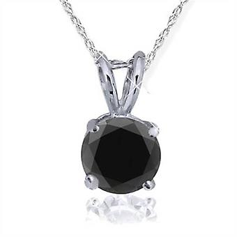 1 CT Black Diamond Solitaire Pendant-Necklace in White Gold on an 18