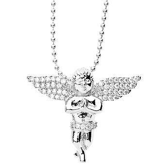 Iced Out Bling Micro Pave Anhänger - MINI FLY ENGEL silber