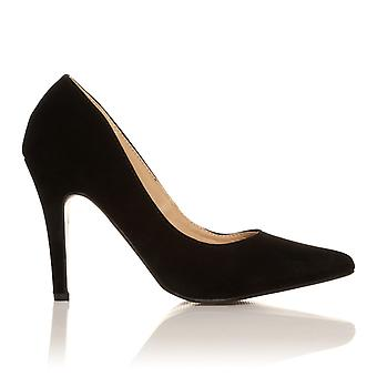 DARCY Black Faux Suede Stilleto High Heel Pointed Court Shoes
