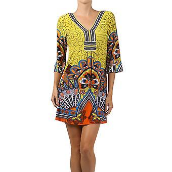 Waooh - Mode - Robe courte en lycra motif floral - Jaune