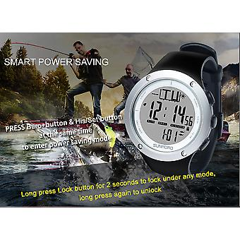 Fishing barometer watch FR722A-5ATM waterproof,barometer, altimeter, thermometer, weather forecast (Sliver)